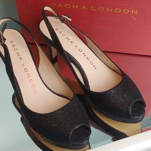 Sasha London black diamond dust heels